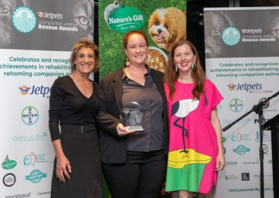 Innovation in Rescue award: Dr Magdoline Awad, Brooke Rankmore of AMRRIC (winner) Dr Anne Fawcett (Judge). Jo Lyons Photography